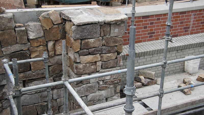 stone wall for Cinderella Castle walkway Magic Kingdom Update August 2019