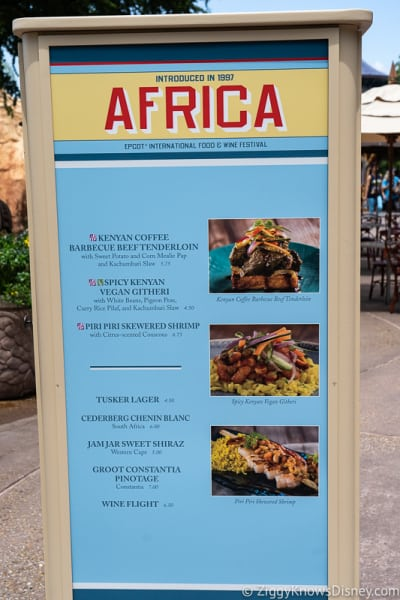 2019 Epcot Food and Wine Festival Menus Africa