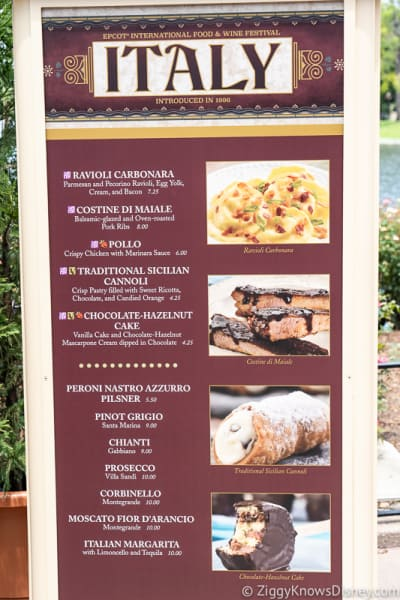 2019 Epcot Food and Wine Festival Menus Italy
