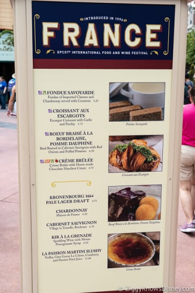 2019 Epcot Food and Wine Festival Menus France