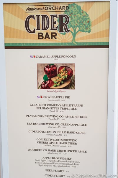 Epcot Food and Wine Menus 2019 Appleseed Orchard Cider Bar