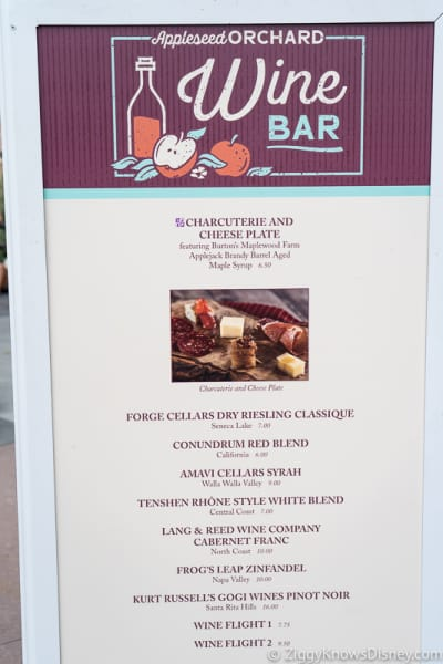 Epcot Food and Wine Menus 2019 Appleseed Orchard Wine Bar