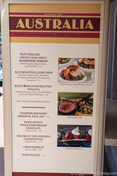 2019 Epcot Food and Wine Festival Menus Australia