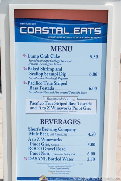 Epcot Food and Wine Menus 2019 Coastal Eats