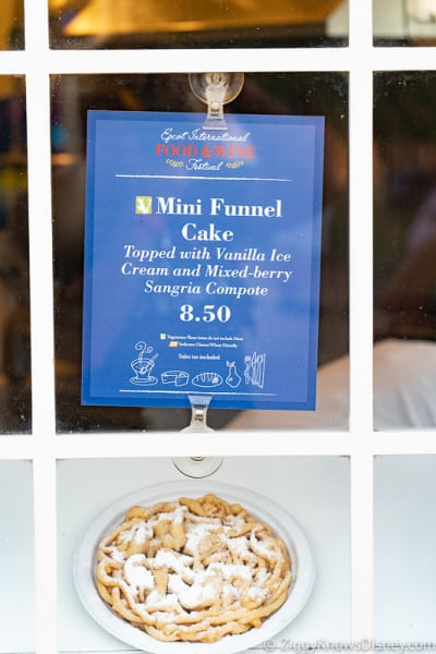 Epcot Food and Wine Menus 2019 Mini Funnel Cake