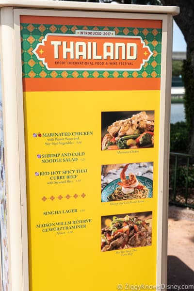 2019 Epcot Food and Wine Festival Menus Thailand