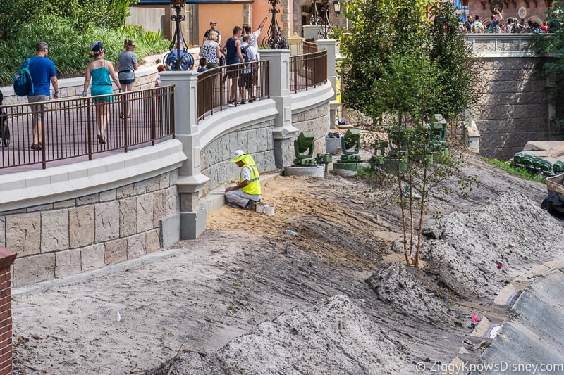 workers on wall for magic kingdom cinderella castle walkway update august 2019