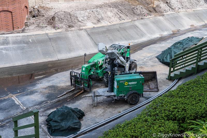 magic kingdom cinderella castle walkway update august 2019 equipment in moat