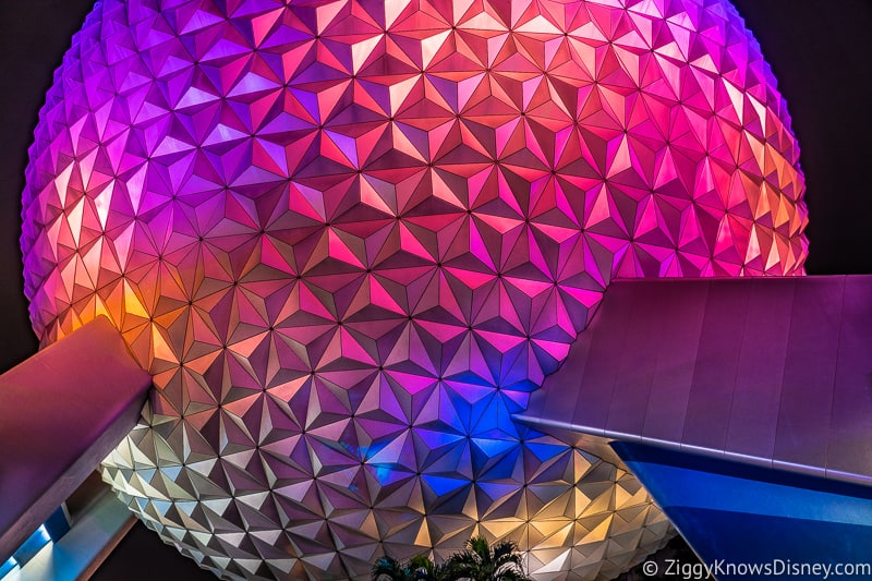 Spaceship Earth glowing at night in Epcot