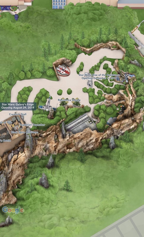 Map of Rise of the Resistance in Star Wars Galaxy's Edge