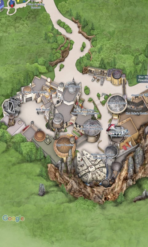 Map of Black Spire Outpost in Star Wars Galaxy's Edge