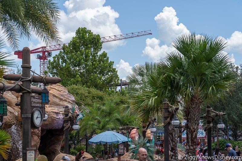 construction crane for TRON Lightcycles Run roller coaster update august 2019