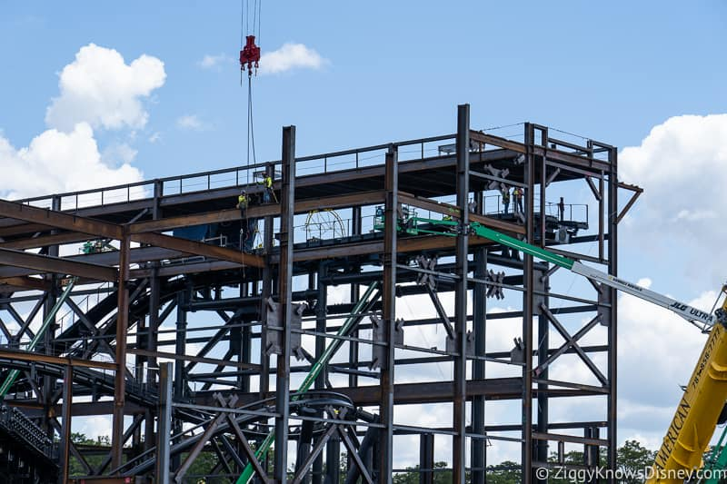 workers up on TRON Lightcycles Run roller coaster update august 2019