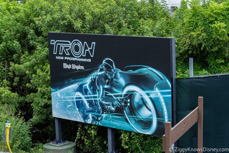 TRON Lightcycles Run roller coaster update august sign