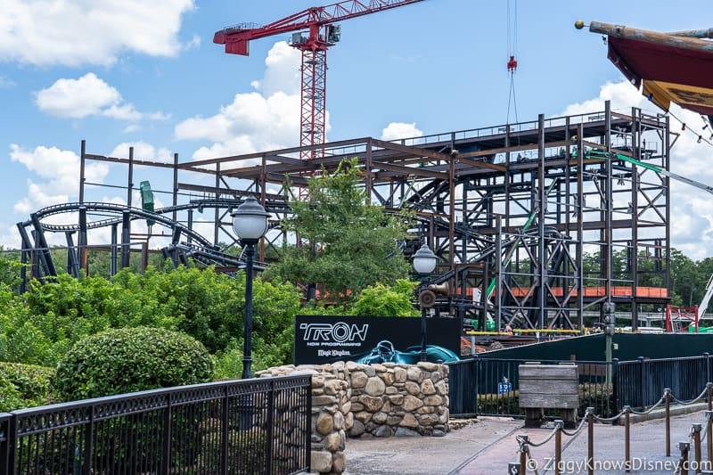 TRON Lightcycles Run roller coaster update august from Goofy's Barnstormer