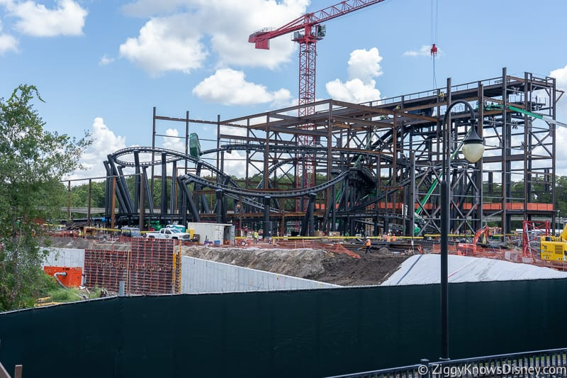 front view of TRON Lightcycles Run roller coaster update august 2019