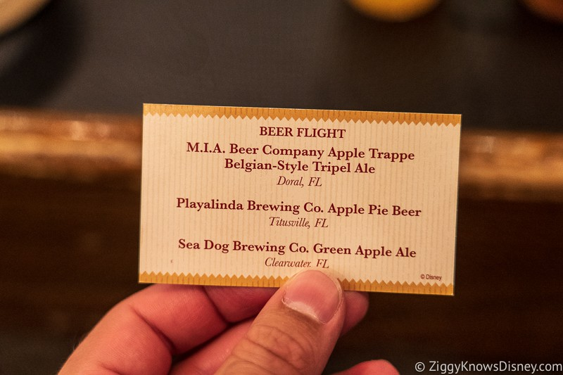 beer flight card Appleseed Orchard Epcot Food and Wine Festival 2019