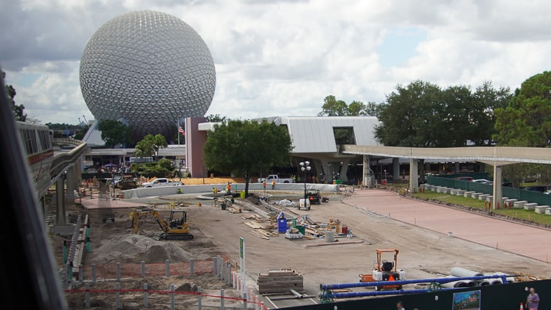 look at tram loop Epcot Entrance construction October 2019