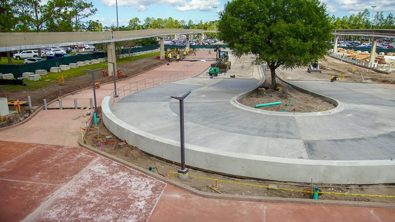 tram loop Epcot Entrance construction October 2019