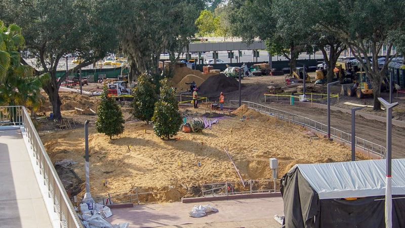 monorail exit Epcot Entrance construction October 2019