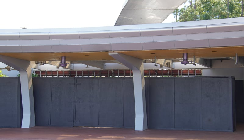 Fence under monorail Epcot Entrance construction October 2019