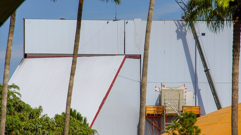 new side panel on Guardians of the Galaxy Coaster building