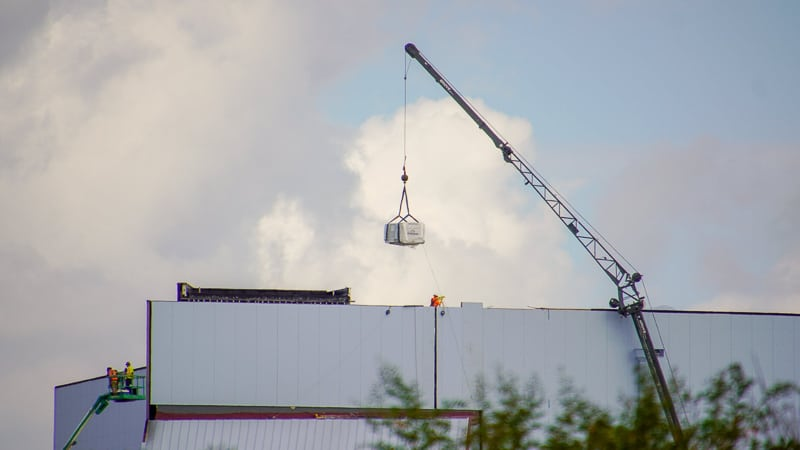 materials being delivered to materials delivery Guardians of the Galaxy Coaster roof update November 2019