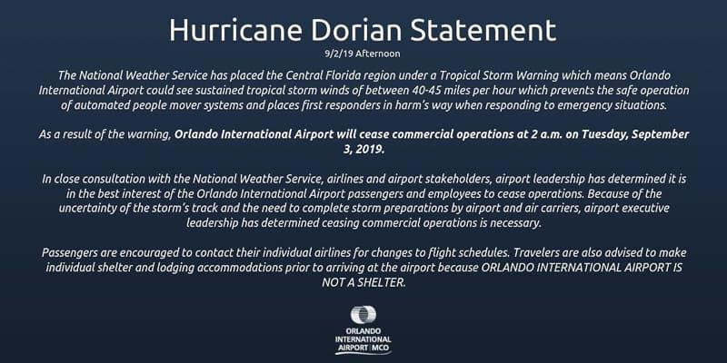 Orlando International Airport Closing September 3