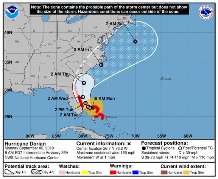 Hurricane Dorian path September 2 9am