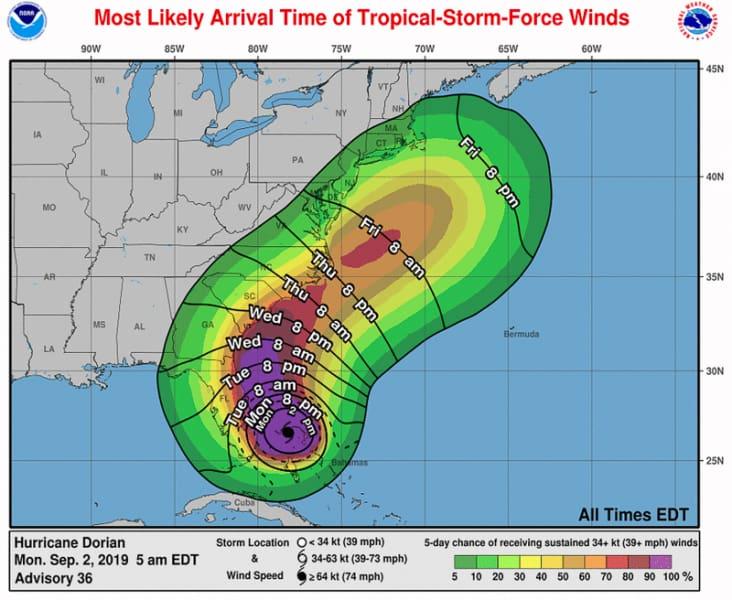 Hurricane Dorian winds September 2 9am