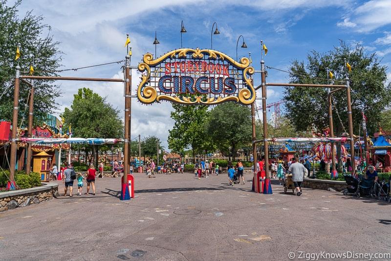 hurricane Dorian Preparations in Walt Disney World storybook circus sign