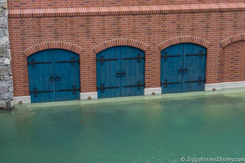 Cinderella Castle Moat Filled in Magic Kingdom blue doors