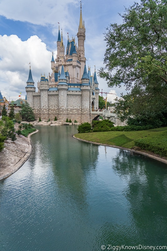 Cinderella Castle Moat Filled in Magic Kingdom side view