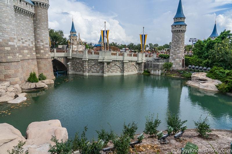 Cinderella Castle Moat Filled in Magic Kingdom next to Cinderella Castle