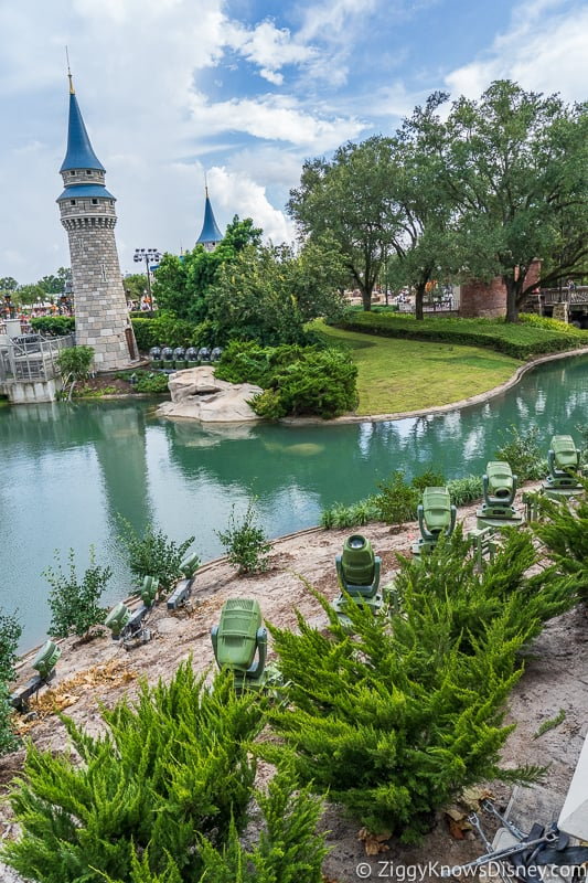 Cinderella Castle Moat Filled in Magic Kingdom hedges and plants
