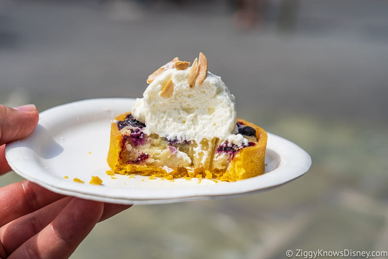 Blueberry almond frangipane tart inside The Alps Epcot Food and Wine Festival 2019
