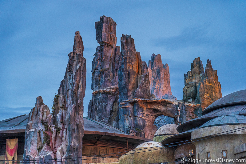 group of spires in Star Wars Galaxy's Edge at sunset
