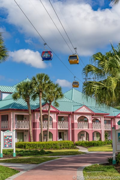 Disney Skyliner over Caribbean Beach Resort