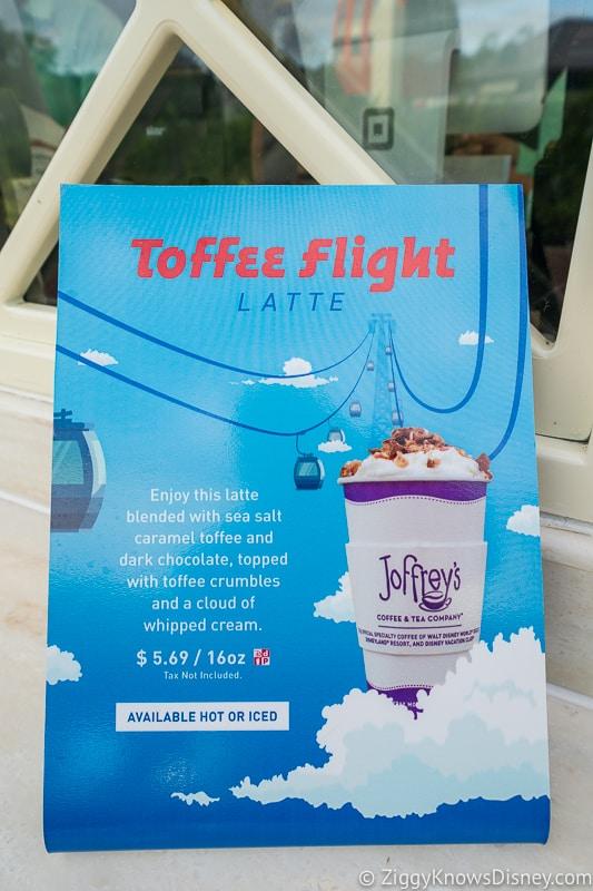 Disney Skyliner Gondola Stations Caribbean Beach Resort Joffrey's toffee flight latte