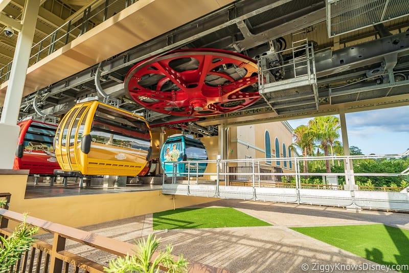 Disney Skyliner Gondola Stations Caribbean Beach Resort landing and leaving