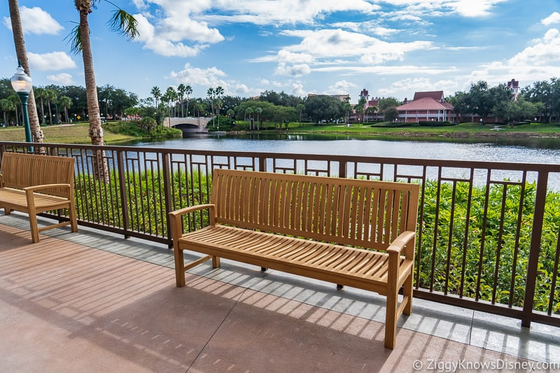 Disney Skyliner Gondola Stations Caribbean Beach Resort bench
