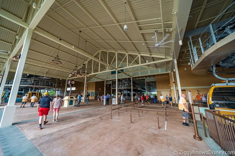 inside Disney Skyliner Gondola Stations Caribbean Beach Resort
