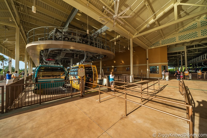 Disney Skyliner Gondola Stations Caribbean Beach Resort assisted guest loading