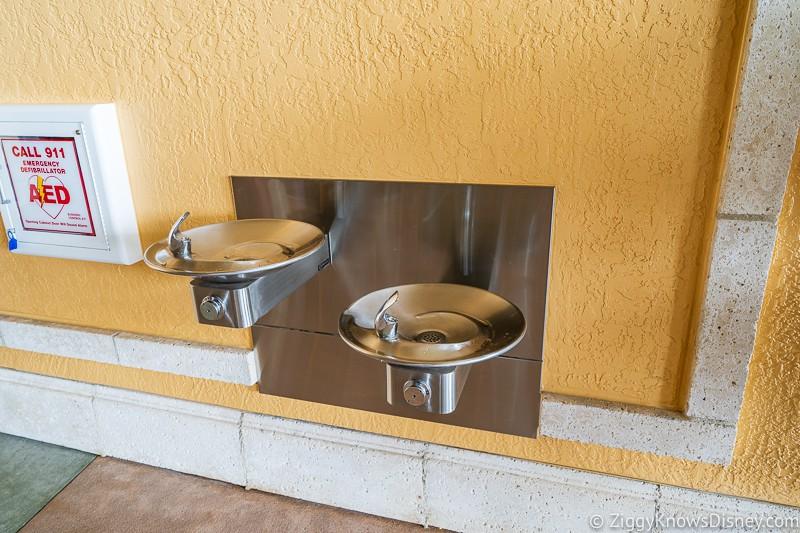 Disney Skyliner Gondola Stations Caribbean Beach Resort water fountains