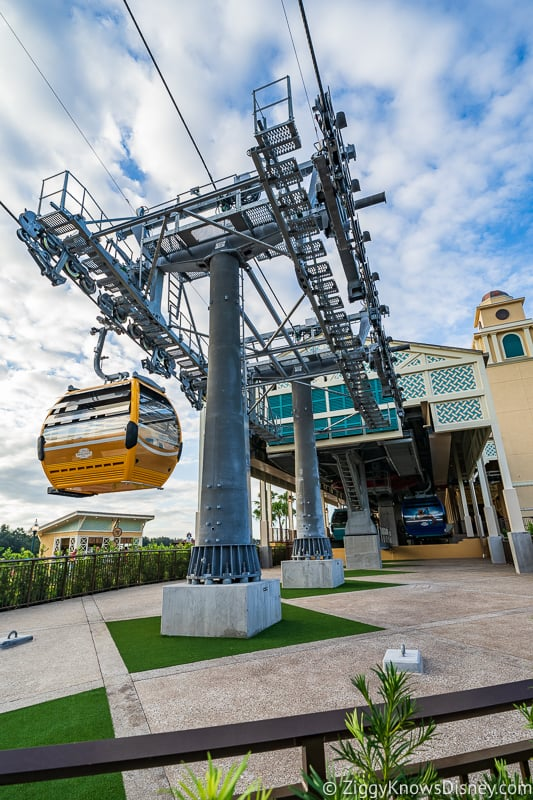 Disney Skyliner Gondola Stations Caribbean Beach Resort cars arriving