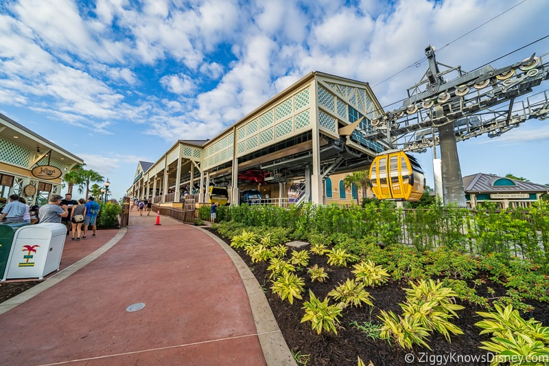 walking the path to Disney Skyliner Gondola Stations Caribbean Beach Resort