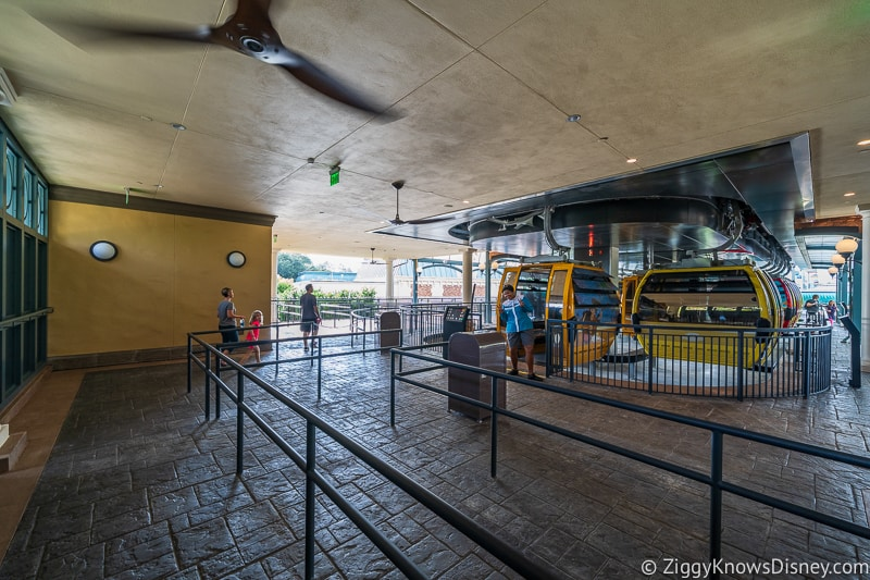 Disney Skyliner Gondola Epcot Station queue for mobility assisted