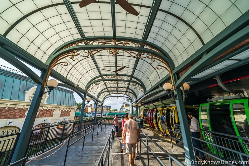Disney Skyliner Gondola Epcot Station aqua ceiling