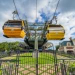 Disney Skyliner Gondola Epcot Station gondola cars going by