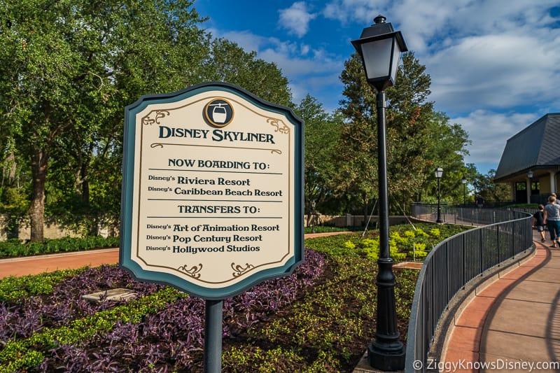Disney Skyliner Gondola Epcot Station sign